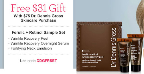Receive a free 3-piece bonus gift with your $75 Dr Dennis Gross purchase