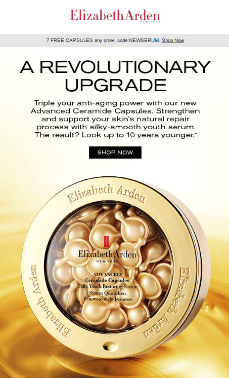 Receive a free 7-piece bonus gift with your Elizabeth Arden purchase