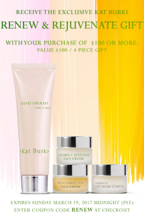 Receive a free 4- piece bonus gift with your $100 Kat Burki purchase