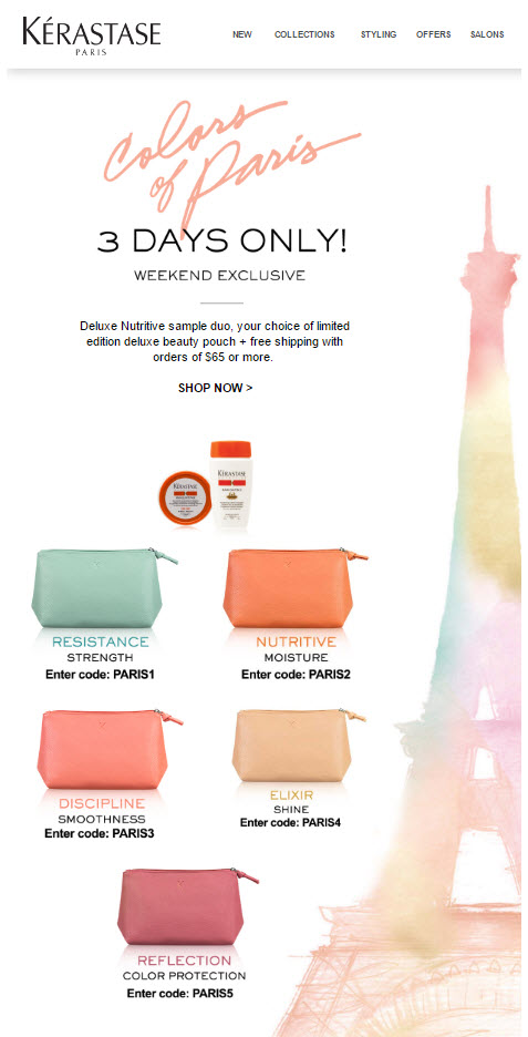 Receive your choice of 3-piece bonus gift with your $65 Kerastase purchase