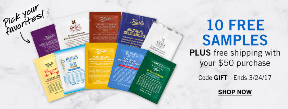 Receive your choice of 10-piece bonus gift with your $50 Kiehl's purchase