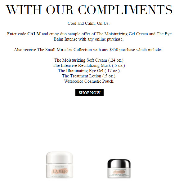 Receive a free 6-piece bonus gift with your $350 La Mer purchase