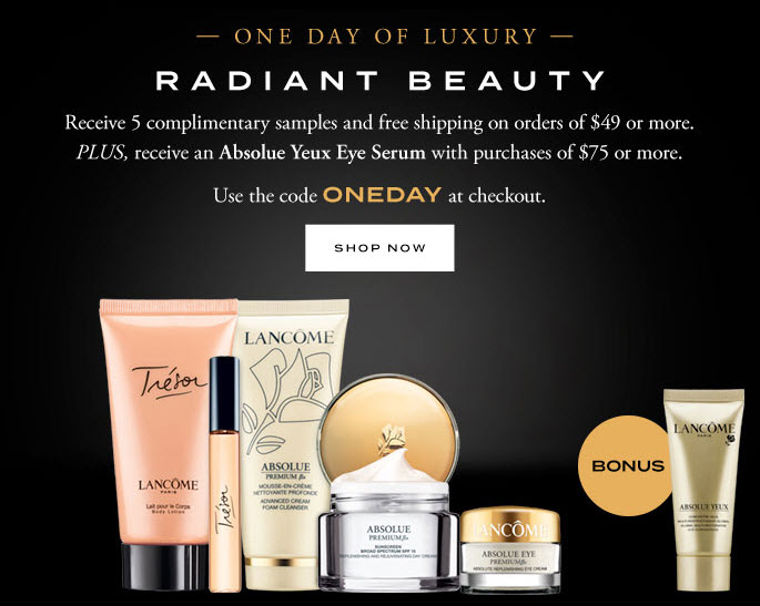 Receive a free 5- piece bonus gift with your $49 Lancôme purchase