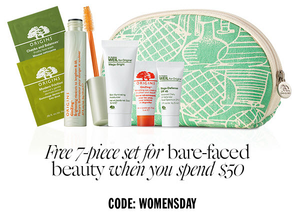 Receive a free 7- piece bonus gift with your $50 Origins purchase