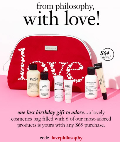 Receive a free 7-piece bonus gift with your $65 philosophy purchase