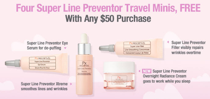 Receive a free 4-piece bonus gift with your $50 Prescriptives purchase