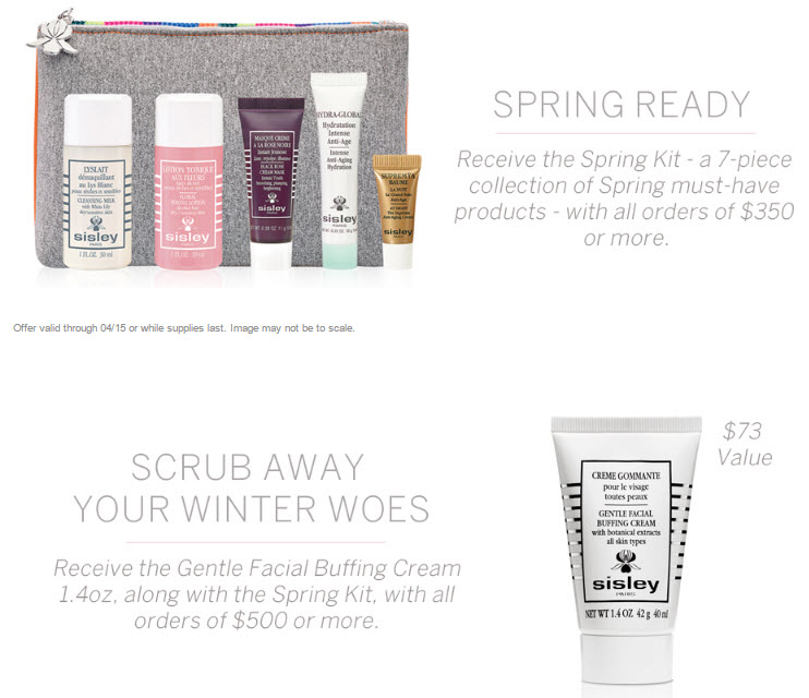 Receive a free 8-piece bonus gift with your $500 Sisley Paris purchase