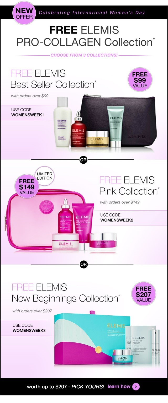 Receive a free ELEMIS bonus gift with your purchase