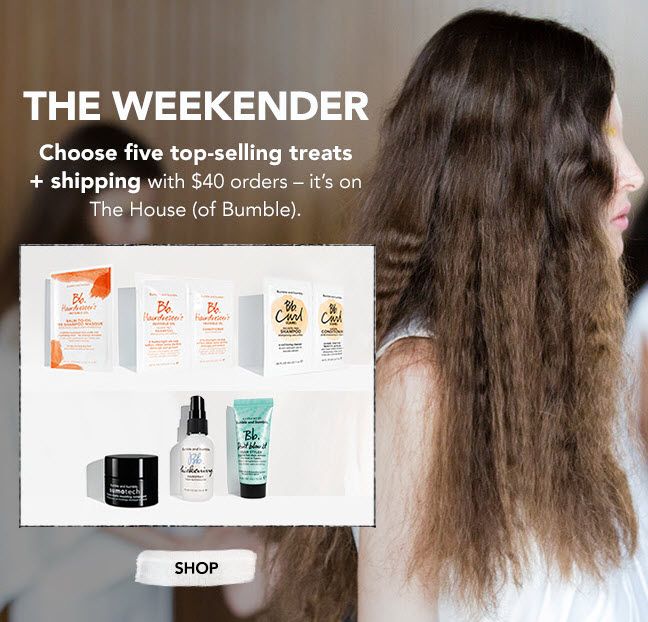 Receive your choice of 5-piece bonus gift with your $40 Bumble and bumble purchase