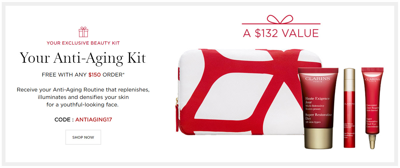 Receive a free 4-piece bonus gift with your $150 Clarins purchase
