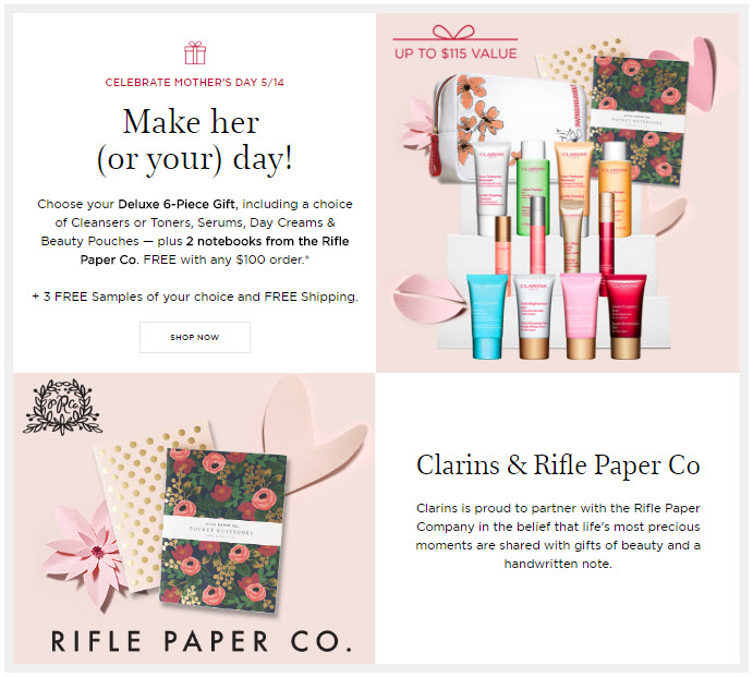 Receive your choice of 6-piece bonus gift with your $100 Clarins purchase