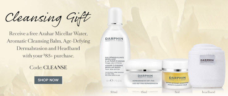 Receive a free 4- piece bonus gift with your $85 Darphin purchase