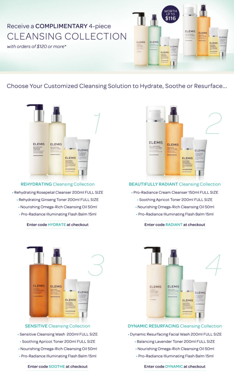 Receive your choice of 4-piece bonus gift with your $120 Elemis purchase