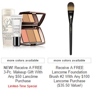 Receive a free 4-piece bonus gift with your $100 Lancôme purchase