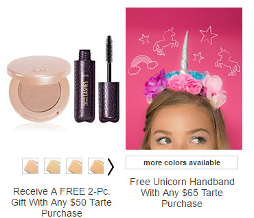 Receive a free 3-piece bonus gift with your $65 Tarte purchase
