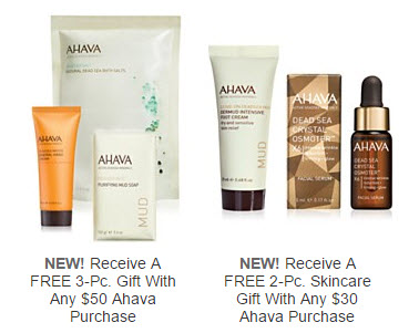 Receive a free 5-piece bonus gift with your $50 AHAVA purchase