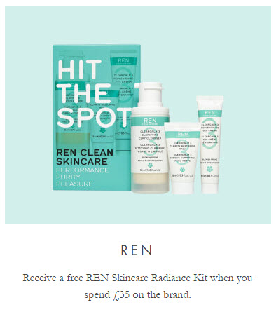 Receive a free 3-piece bonus gift with your $45 REN Skincare purchase