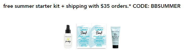 Receive a free 4-piece bonus gift with your $35 Bumble and bumble purchase