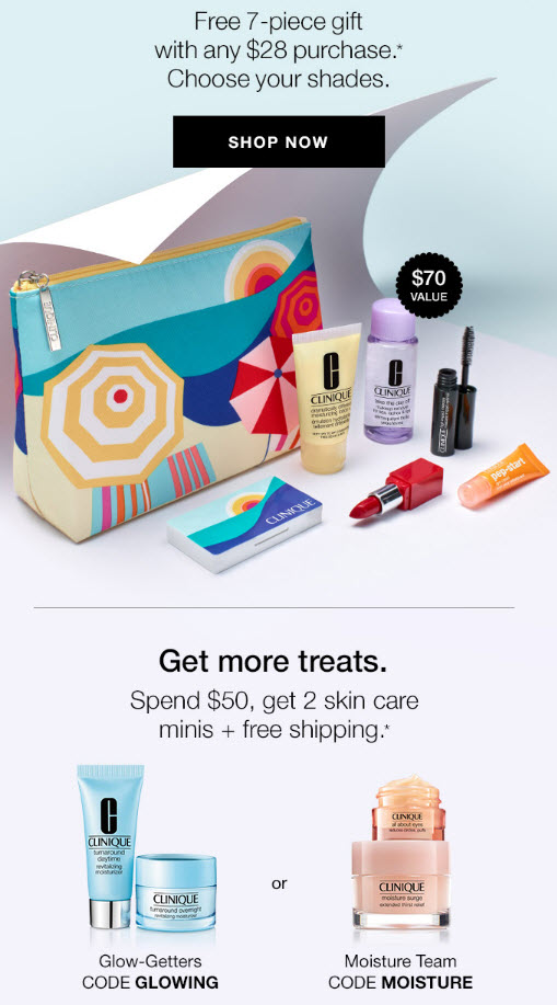 Receive a free 7-piece bonus gift with your $28 Clinique purchase