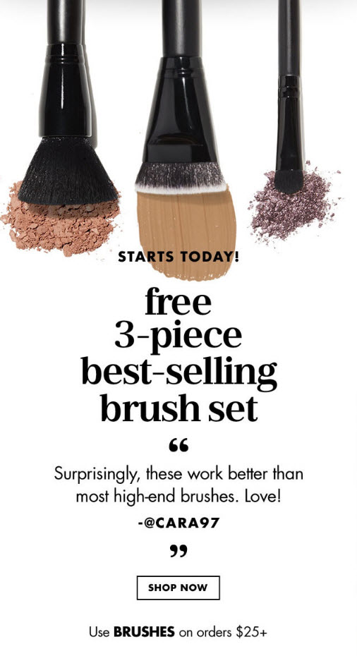 Receive a free 3-piece bonus gift with your $25 ELF Cosmetics purchase