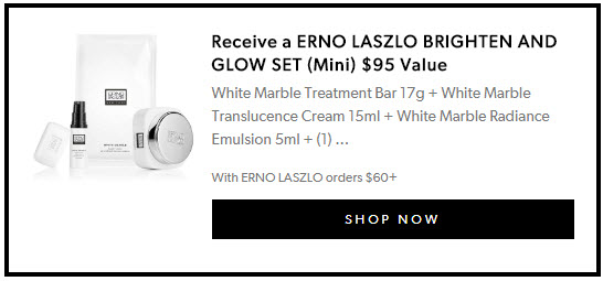 Receive a free -piece bonus gift with your $60 Erno Laszlo purchase