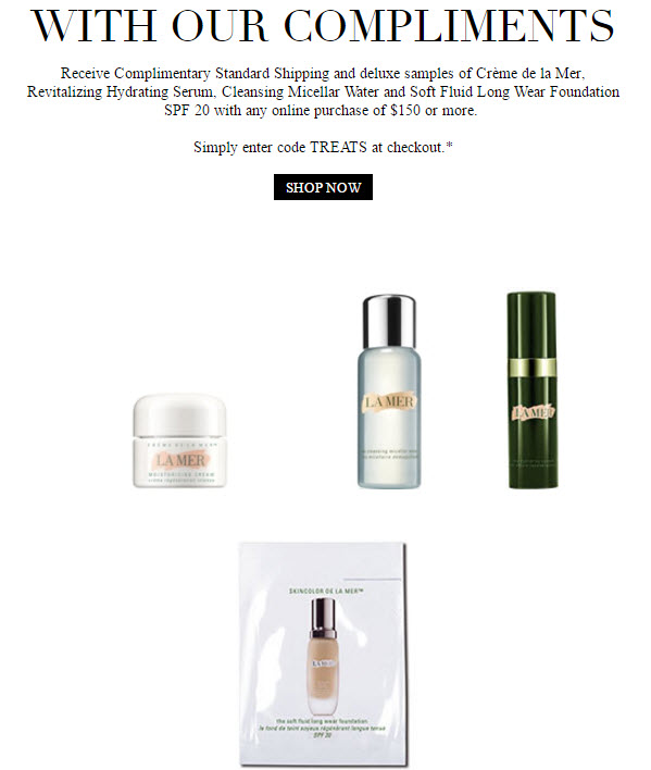 Receive a free 4-piece bonus gift with your $150 La Mer purchase