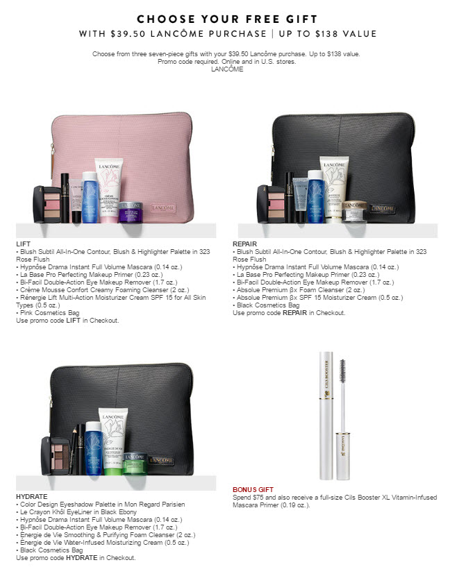 Receive your choice of 8-piece bonus gift with your $75 Lancôme purchase