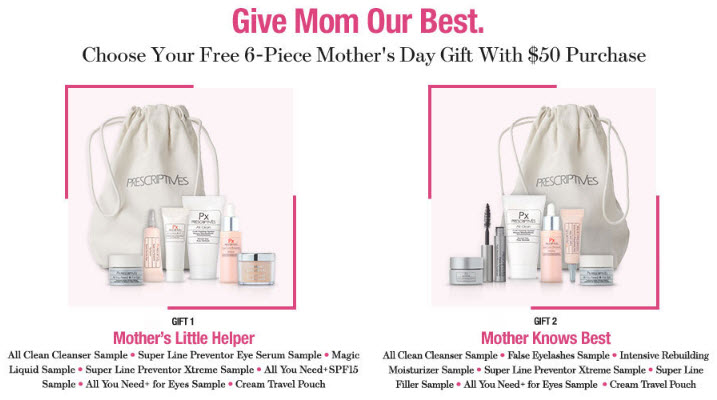 Receive your choice of 6-piece bonus gift with your $50 Prescriptives purchase