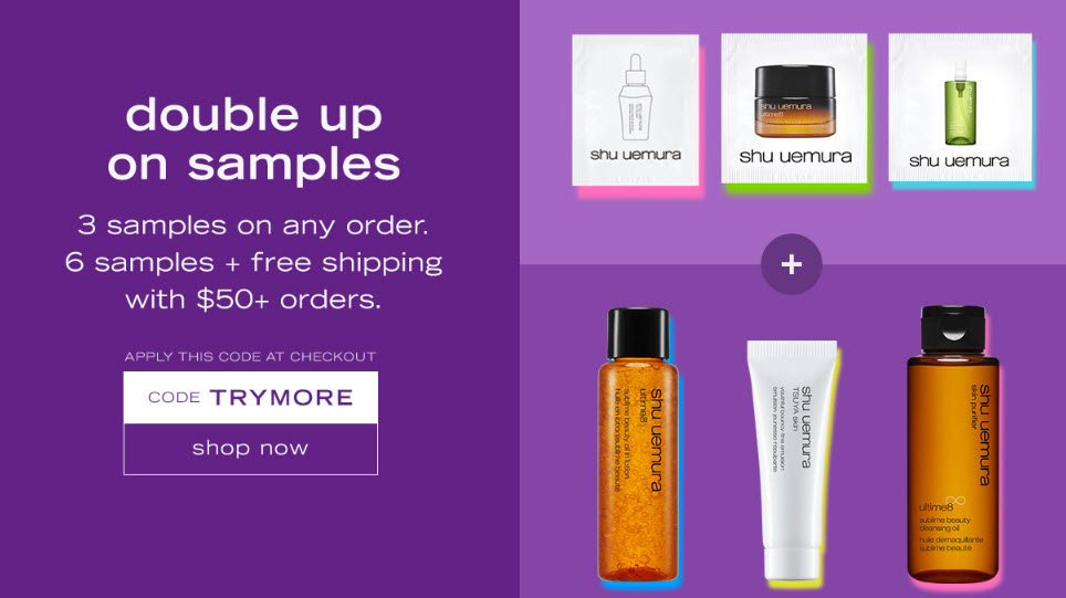 Receive a free 6-piece bonus gift with your $50 Shu Uemura purchase