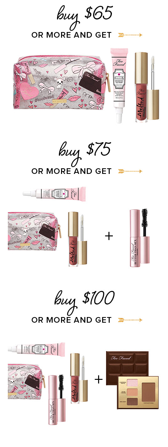 Receive a free 3-piece bonus gift with your $65 Too Faced purchase