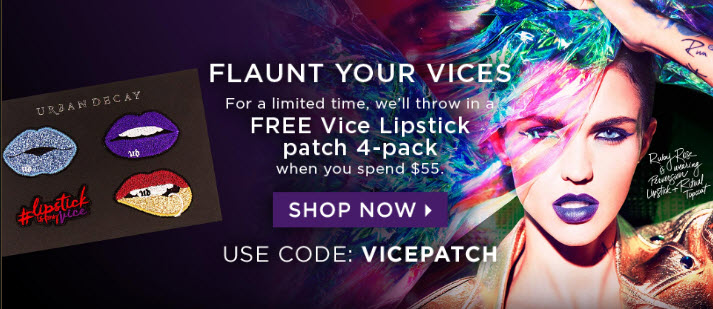 Receive a free 4-piece bonus gift with your $55 Urban Decay purchase