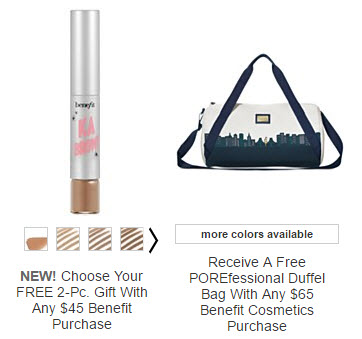 Receive a free 3-piece bonus gift with your $65 Benefit Cosmetics purchase