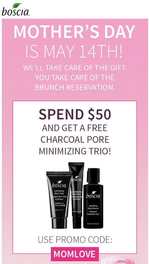 Receive a free 3-piece bonus gift with your $50 Boscia purchase