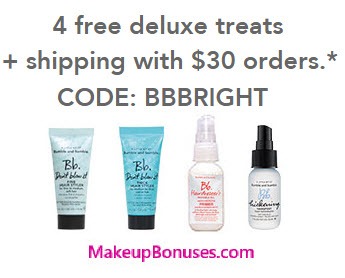 Receive a free 4-piece bonus gift with your $30 Bumble and bumble purchase