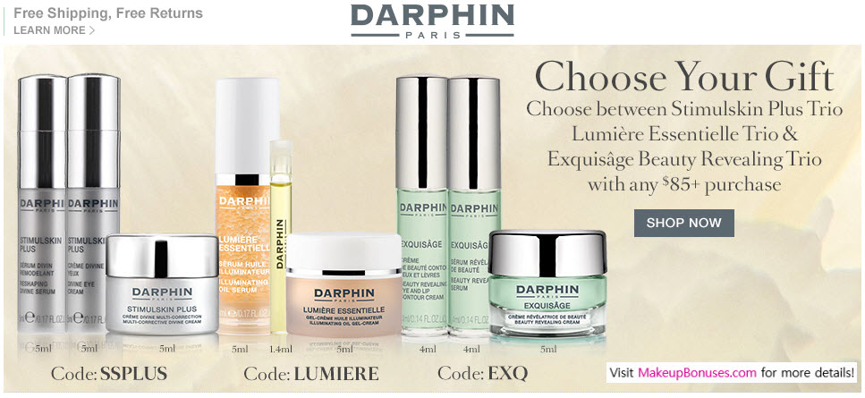 Receive your choice of 3-piece bonus gift with your $85 Darphin purchase