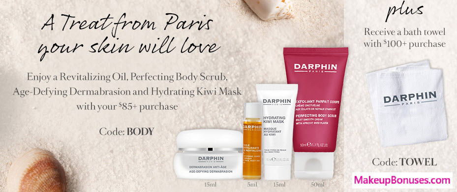 Receive a free 5-piece bonus gift with your $100 Darphin purchase
