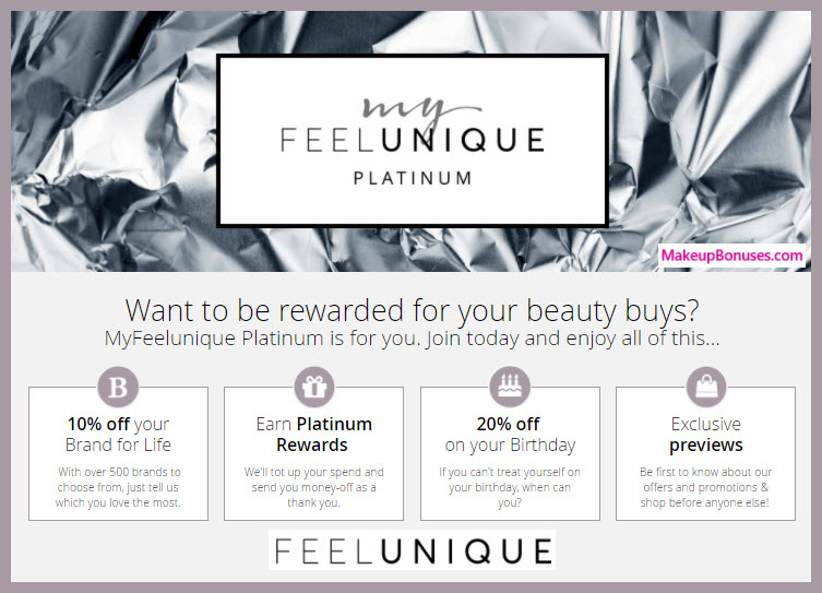 Feel Unique birthday free gift MakeupBonuses.com