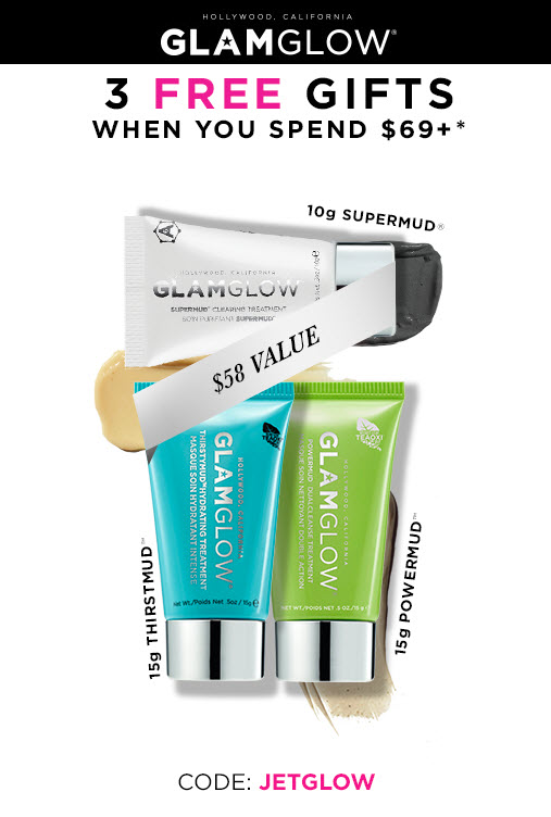Receive a free 3-piece bonus gift with your $69 GlamGlow purchase