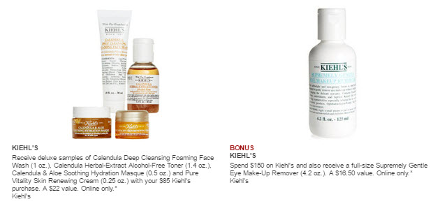 Receive a free 5-piece bonus gift with your $150 Kiehl's purchase
