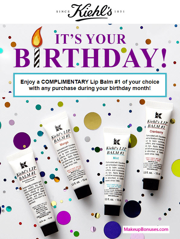 Kiehl's Since 1851 Birthday Gift MakeupBonuses.com