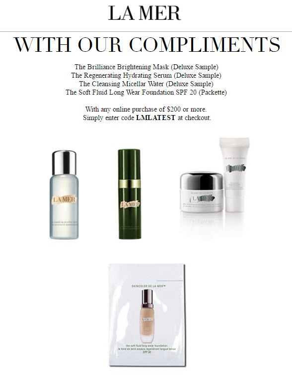 Receive a free 4-piece bonus gift with your $200 La Mer purchase