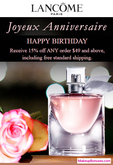lancome free birthday gift MakeupBonuses.com
