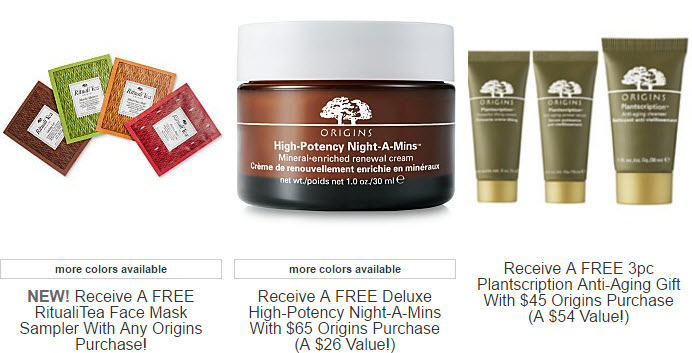 Receive a free 8-piece bonus gift with your $65 Origins purchase