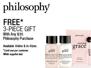 Receive a free 3-piece bonus gift with your $35 Philosophy purchase
