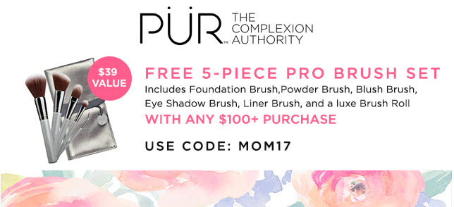 Receive a free 5-piece bonus gift with your $100 PÜR purchase