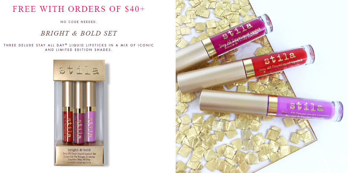 Receive a free 3-piece bonus gift with your $40 Stila purchase