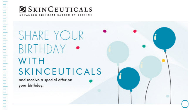 SkinCeuticals 2017 free birthday gift MakeupBonuses.com