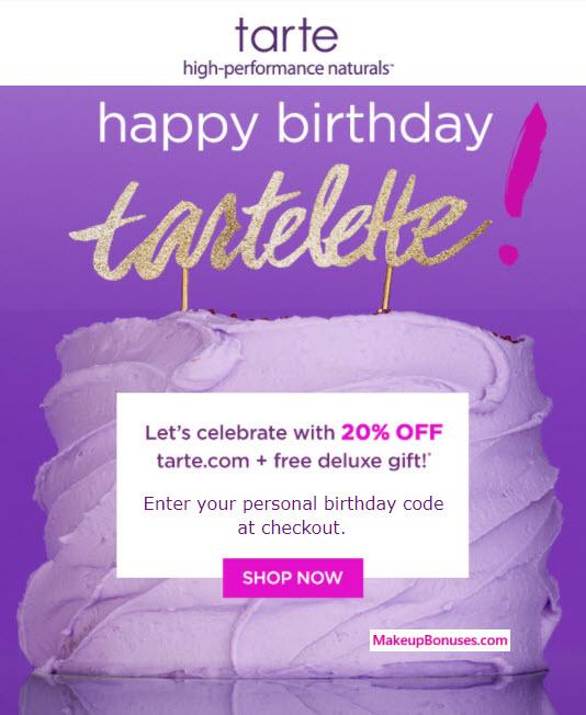 Tarte Birthday Gift - MakeupBonuses.com #tartecosmetics #CrueltyFree #Vegan