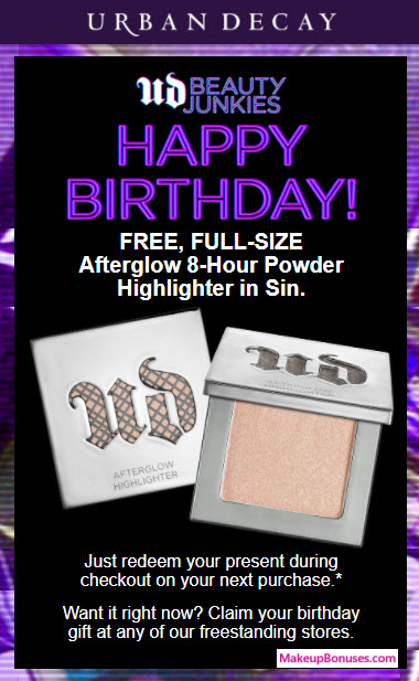 Urban Decay Free Birthday Gift MakeupBonuses