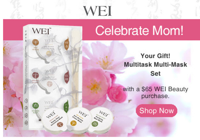 Receive a free 3-piece bonus gift with your $65 Wei purchase